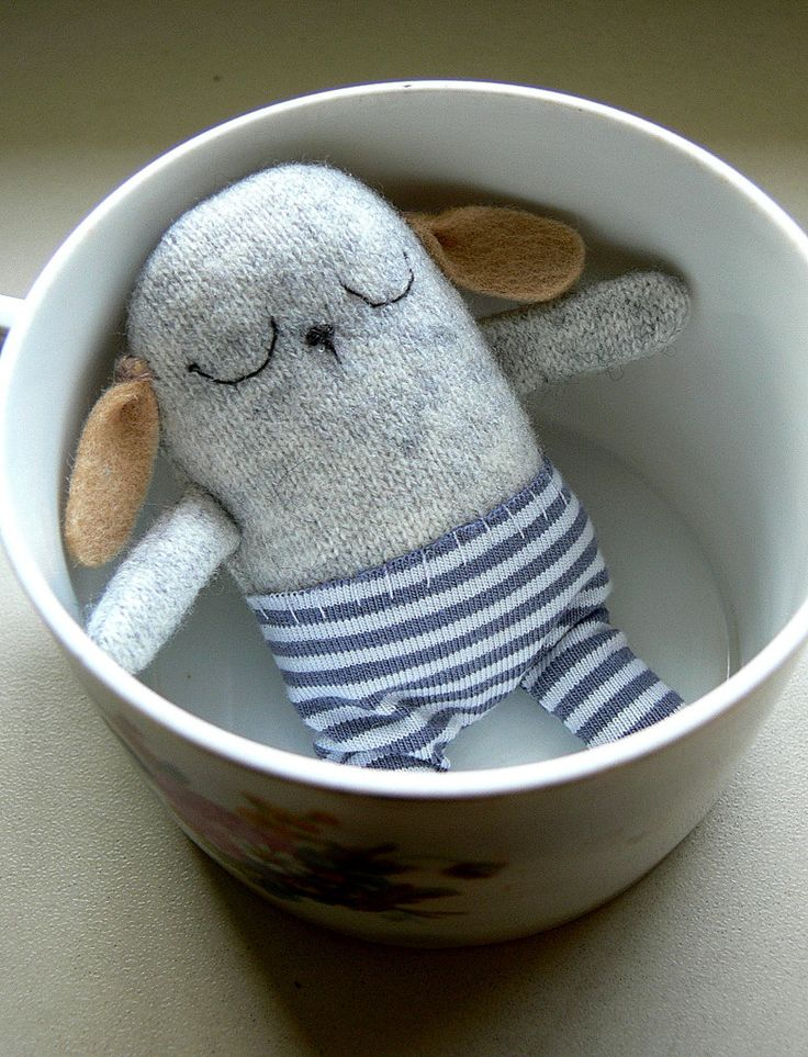 Stuffed newborn baby Bunny Toy, soft toy, mini plushie by MiniwerkaToys on Etsy