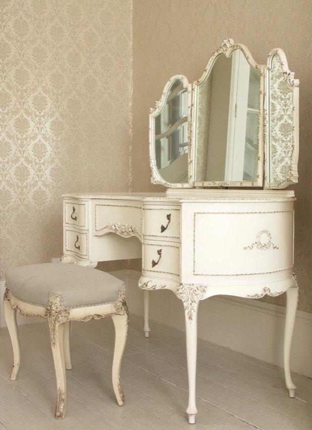 charming white vintage vanity
