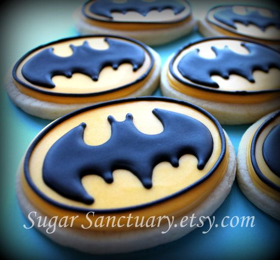 Decorated Batman Logo Sugar Cookies 1 Dozen-Individually Packaged Favors