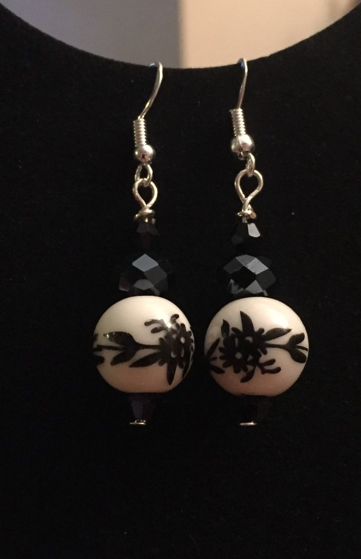 Black crystals and ceramic focal bead earrings