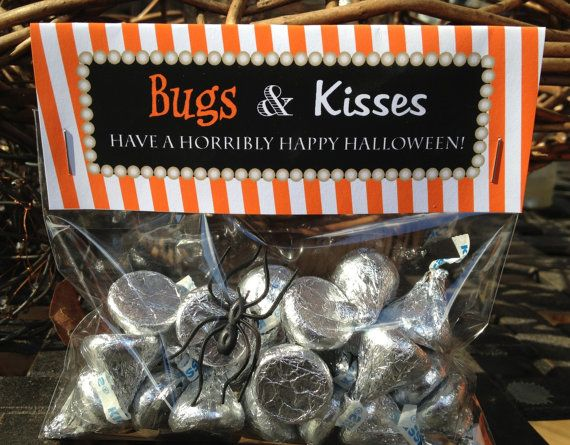 Bugs and Kisses Halloween Favor Bags - 12 count on Etsy, $12.00 -- or make your own for the cost of the kisses & bags, about $4.00 total!