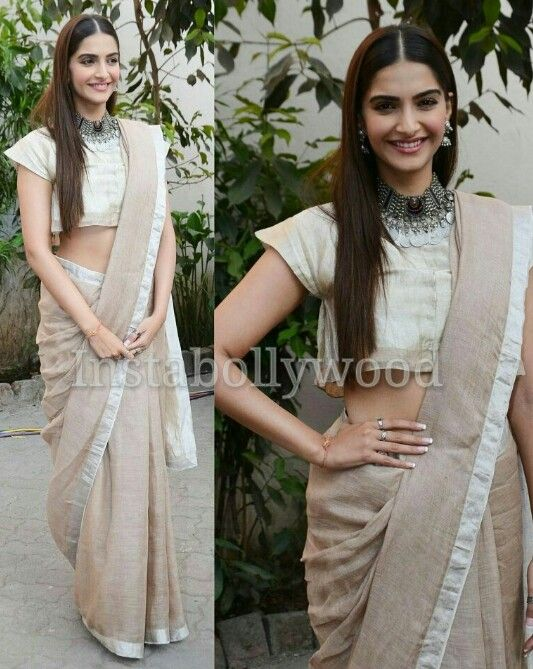 Sonam Kapoor in Anavika handwoven beige saree for her movie Prem Ratan Dhan Paayo Conference