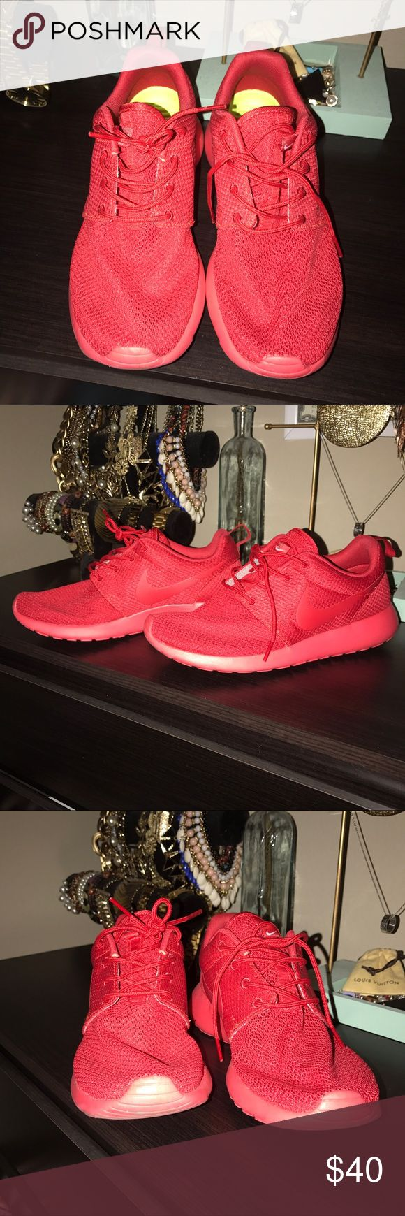 NIKE ID ROSHE I customized on Nike ID when Roshe were HOT a couple of years ago but FYI the rubber sole of shoes are not a true red it's more of a Solar Red. Fabric is true red but sole is solar red (a little brighter than fabric of shoe). SIZE 6Youth (7.5 Woman). USED. MINT CONDITION. Nike Shoes Sneakers