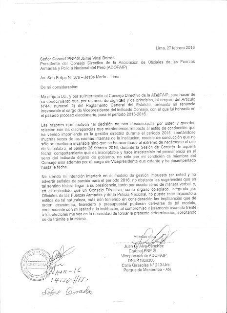 LAS  FUERZAS   DEL   ORDEN  :   FFAA  Y  PNP: RENUNCIA DEL CORONEL PNO (r) JUAN GERARDO ALVA SÁN...