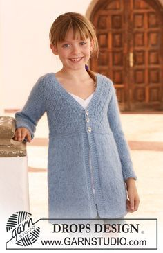 "DROPS jacket in ""Alpaca"" and ""Kid-Silk"" with long sleeves. Size 7 to 14 years. ~ DROPS Design"