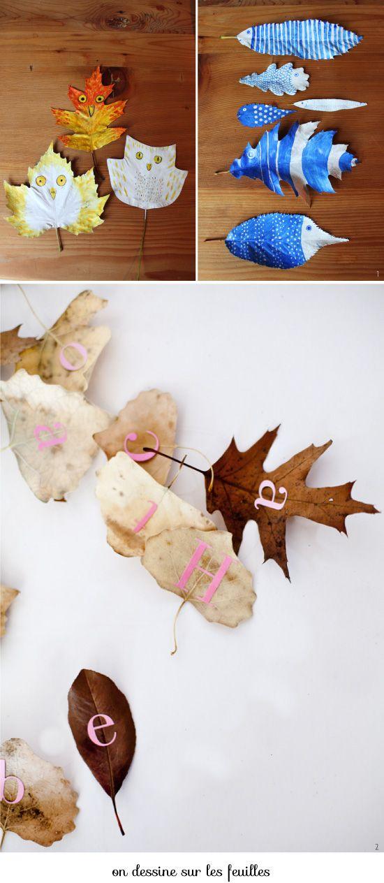 Idées : Avec des feuilles mortes (en Français) / ideas : Crafts with leaves (in French)