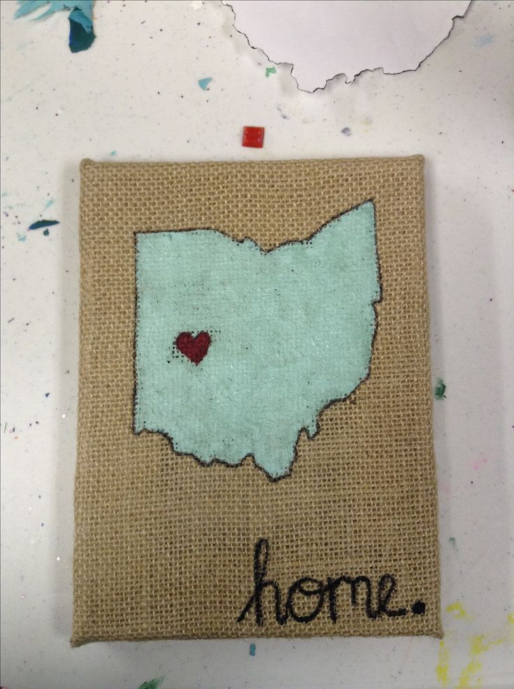 Burlap Canvas State Art Home Artsy Ideas Pinterest