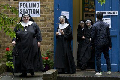 Before and after Brexit: Photo highlights of British politics in 2016:      Brexit:   Nuns leave after casting their votes at a polling station in London, as Britain holds a referendum on whether to stay or leave the European Union (EU) on 23 June 2016.   Justin Tallis/AFP