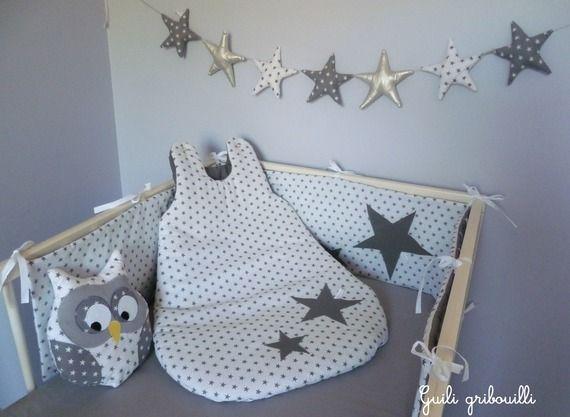 tour de lit et gigoteuse ETOILE blanc/gris(modèle déposé)