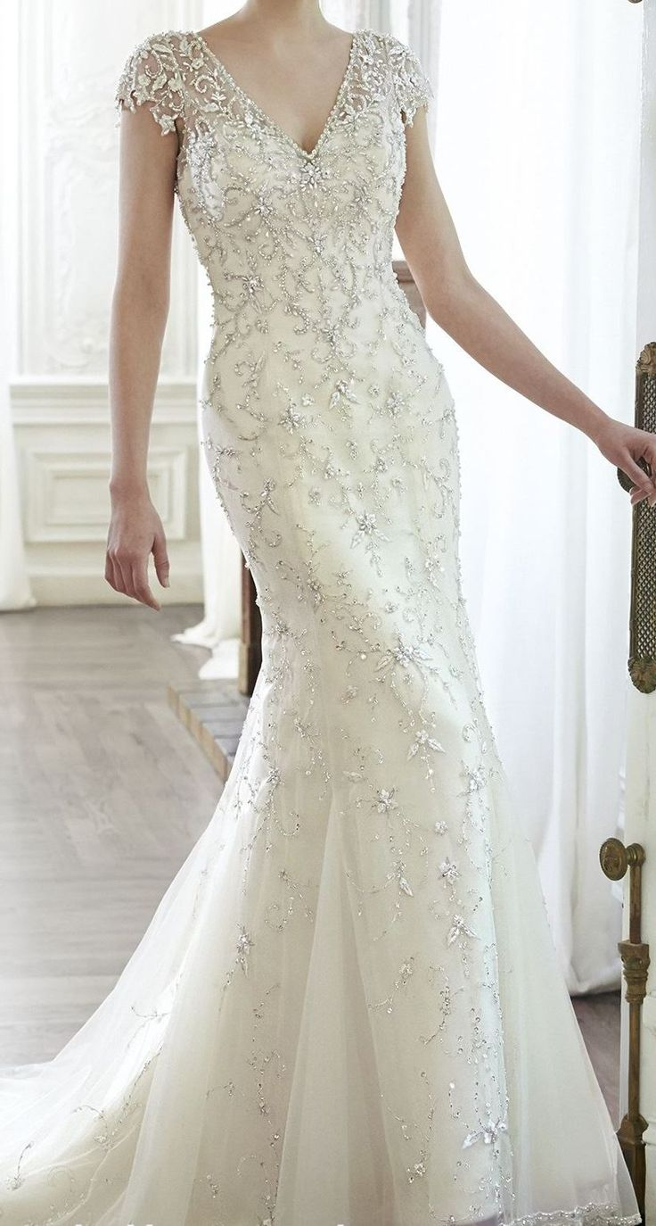 Beaded tulle wedding dress with cascading crystals and cap sleeves. | Member Board: Bride ...