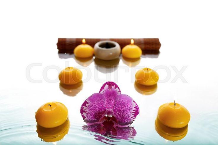 Орхидея и ароматические свечи с отражением | Stock Photo | Colourbox on Colourbox