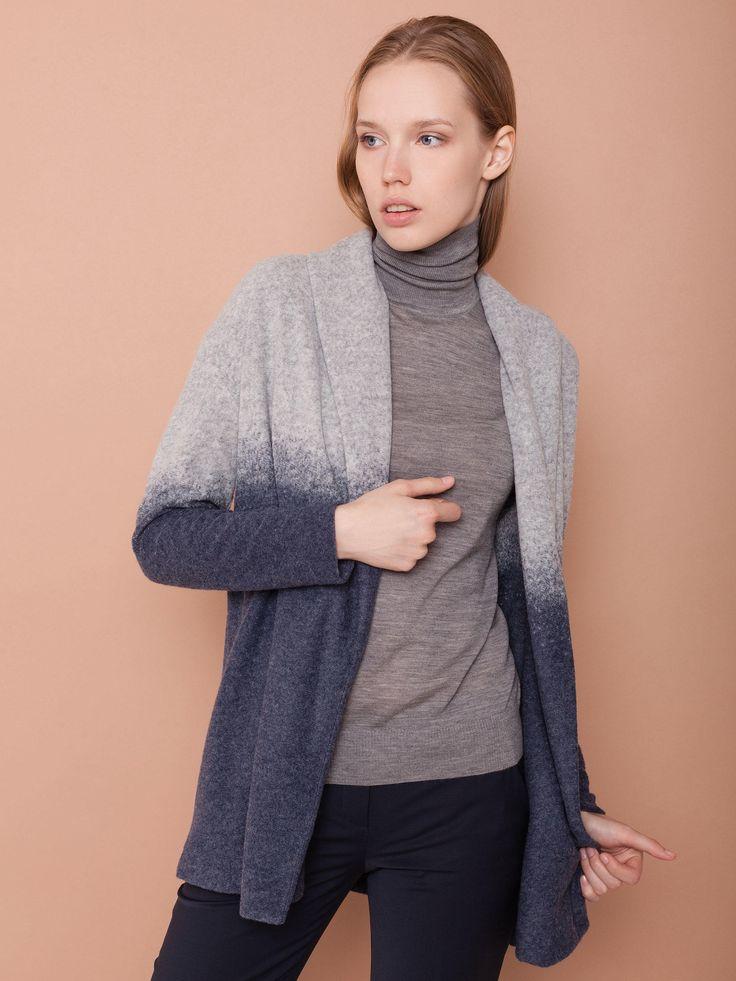 Кардиган из полушерстяного трикотажа с эффектом деграде купить в магазине женской одежды по цене 9990 руб. с доставкой по Москве и РФ. Интернет-магазин Charuel.