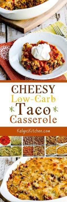 This Cheesy Low-Carb Taco Casserole has ground beef, onion, cauliflower rice, Ro-Tel tomatoes, taco seasoning, and lots of cheese for a tasty low-carb casserole that's loaded with taco flavors. The recipe is also Keto, low-glycemic, gluten-free, and can be South Beach Diet friendly. [found on KalynsKitchen.com] #TacoCasserole #LowCarbTacoCasserole #LowCarbCasserole #CheesyLowCarbTacoCasserole