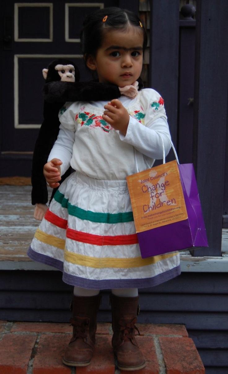 #MakeChangeForChildren founder Suzanne Boutilier's little Frida Kahlo trick-or-treating for change!
