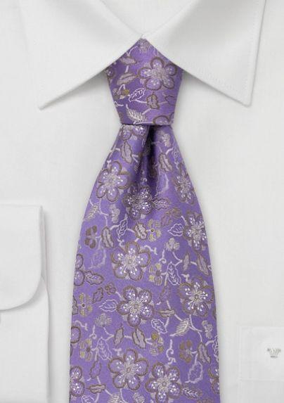 Lavender Designer Tie With Golden Floral Pattern