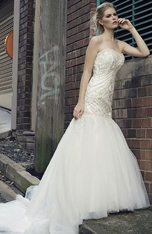 Sweetheart Mermaid Wedding Dress  with Dropped Waist in Beaded Embroidery. Bridal Gown Style Number:32760803