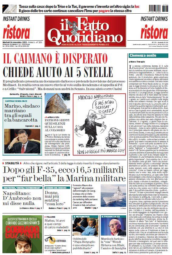Il Fatto Quotidiano (26-11-13)Italian | True PDF | 20 pages | 7,29 Mb