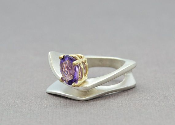 Amethyst Ring Silver Amethyst Ring Two Tone by SuttonSmithworks