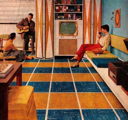 Vintage Interior via kitschyliving kitsch vintage retro 1950s blue gold interior geometric