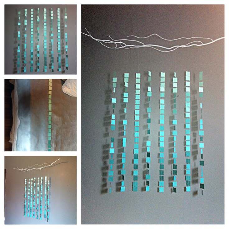My latest creation: An ombre cascade from a white branch. I hung this on the main wall of our master bedroom. #DIY
