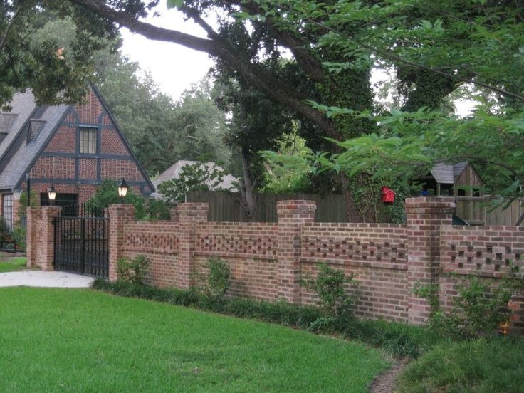Outdoor Brick Fences With Wrought Iron Gate : Outdoor Brick Fences Providing Privacy