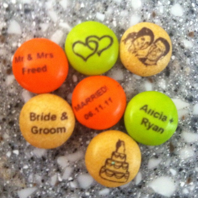 Personalized m's wedding favors. Neat ideas for what to include on the M&M's. This was Miguel's 1 year anniversary gift to me. :)
