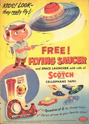 COMIC BOOK AD FOR SCOTCH TAPE WITH FLYING SAUCER OFFER by Christian