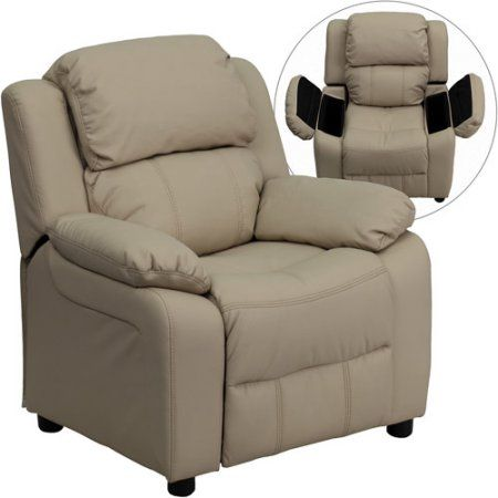 Flash Furniture Kids' Vinyl Recliner with Storage Arms, Multiple Colors, Beige
