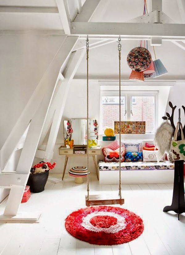 eclectic playroom. I love the idea of a swing in the house. Won't have to worry about the weather being bad.