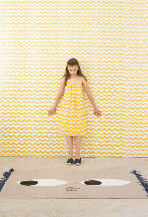 Repositionable Wallpaper Yellow Waves
