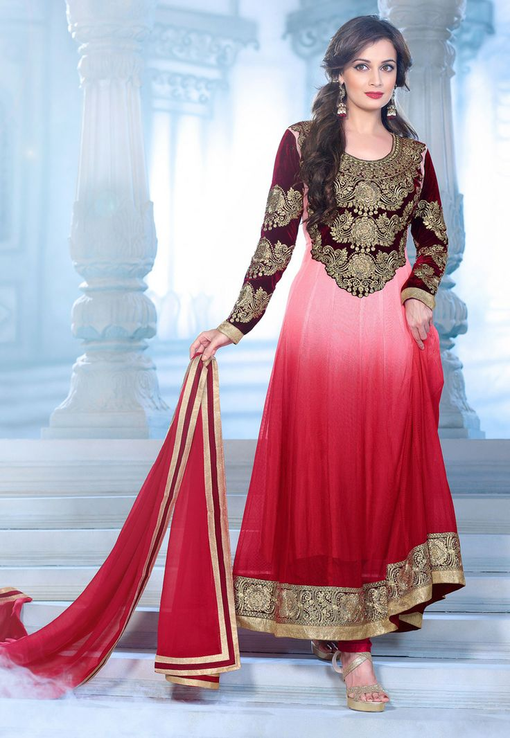 Desginer suit !Shaded Maroon #Net - #Velvet  kameez designed with Zari- resham embroidery with patch butta and lace border Work. Available with Maroon #Santoon Bottom with matching Pure #Chiffon Dupatta.   With exciting Flat 30% discount! INR :-5173