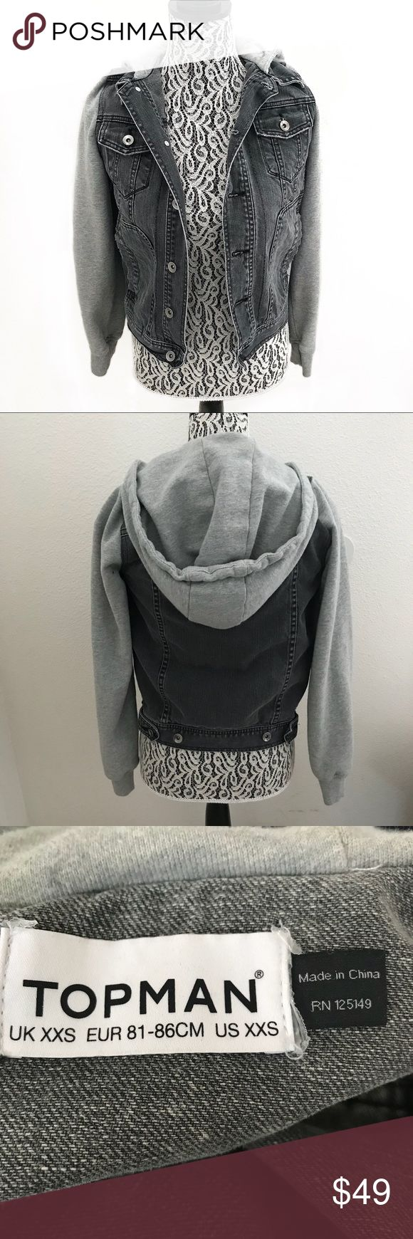"""TOPMAN jeans denim jacket / cotton sleeves XXS TOPMAN jeans denim jacket / cotton sleeves XXS  Pit to pit 17"""" Sleeve 26"""" Shoulder 14"""" Length 23""""  There is no option XXS so I put XS. Please refer to measurements to ensure proper fit. Topman Jackets & Coats Lightweight & Shirt Jackets"""