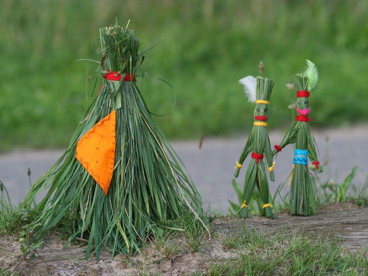 Indianen en tipi van gras basteln mit naturmaterialien - Basteln mit naturmaterialien wald ...