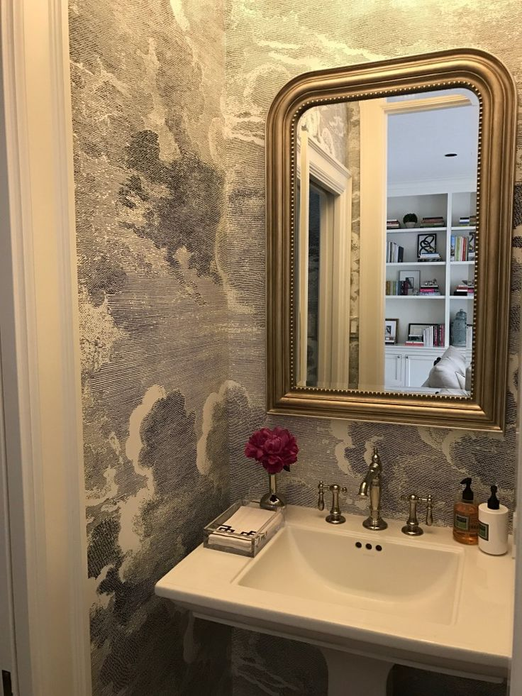 Paloma Contreras Design | Powder Bath Featuring @kohlerco Artifacts  Lavatory Faucet And Memoirs Pedestal Sink