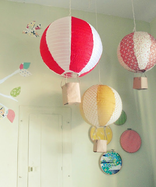 Must make these for girl's room. Paper lanterns and scrapbook paper or fabric and paper bags.