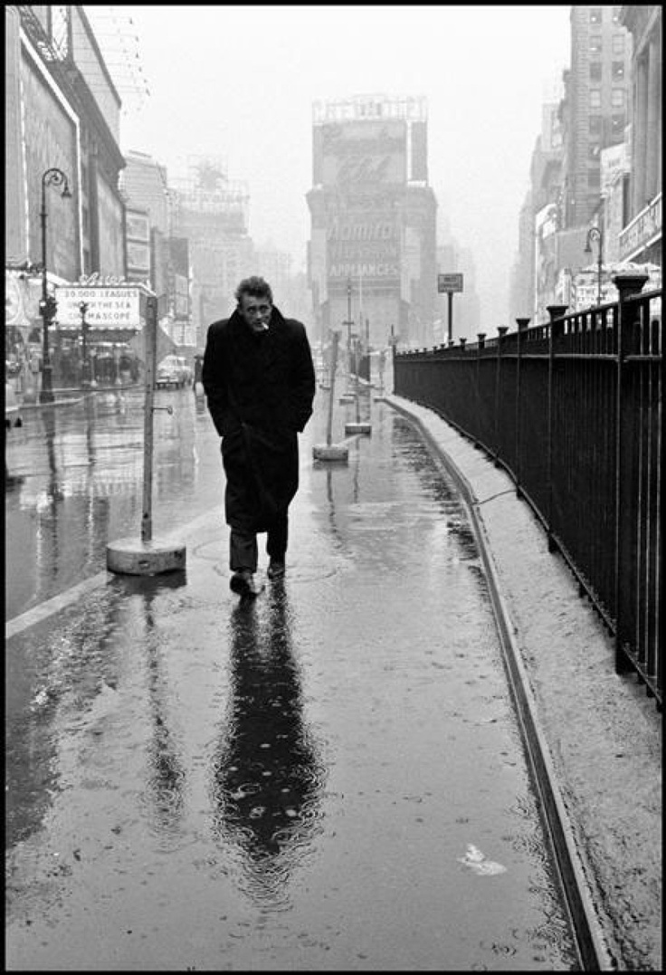 ICONIC PHOTO! USA. New York City. 1955. James Dean haunted Times Square. For a novice actor in the fifties this was the place to go. The Actors Studio, directed by Lee Strasberg, was in its heyday and just a block away.   by Dennis Stock