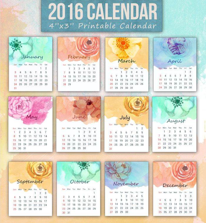 A set of printable 12-month mini 2016 calendar featuring watercolor floral designs. The calendar comes in 12 unique designs. Free to download and use.