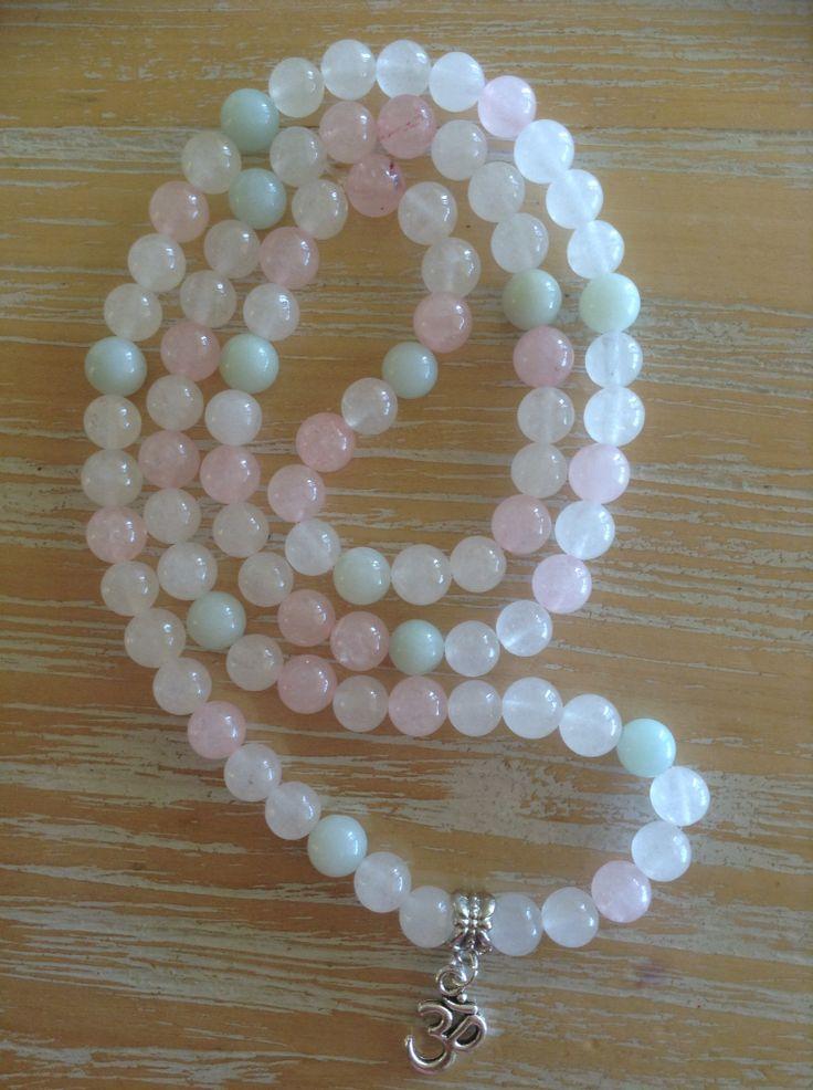 Gemstone necklace, white Quartz, rose quartz, Amazonite 8mm beads, feminine, goddess, divine.