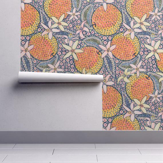 Orange Wallpaper African Oranges By Helenpdesigns Fruit Etsy Orange Wallpaper Peel And Stick Wallpaper Spoonflower Wallpaper