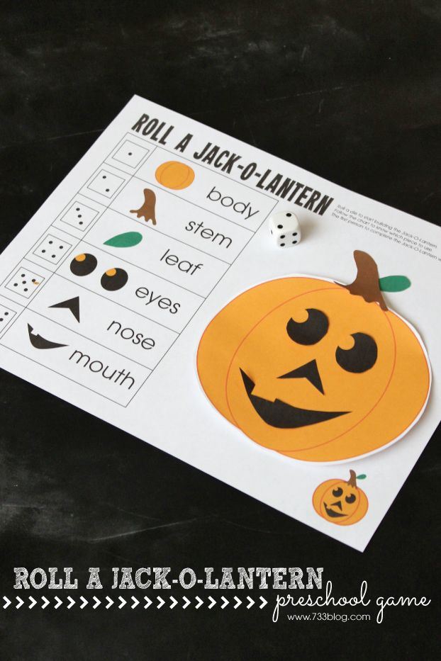 Have a festive time with this Roll a Jack-O-Lantern Preschool Game!