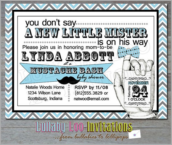 Mustache Baby Shower Invitations  Product No 004  by LullabyLoo, $18.00