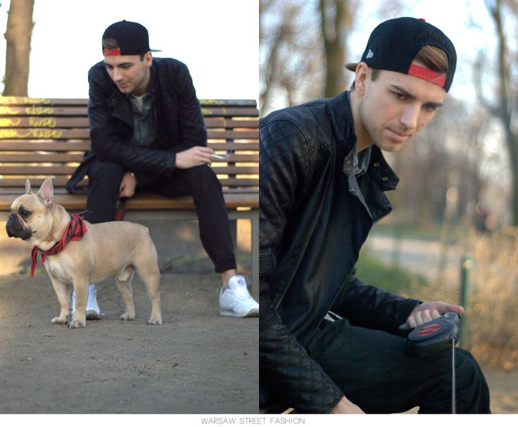 #warsawstreetfashion #warsaw #street #fashion #warszawa #centrum #city #polish #stylish #guy #boy #man #handsome #beaty #dog #sweet #buldog #frenchbuldog #newera #cap #park #look #outfit