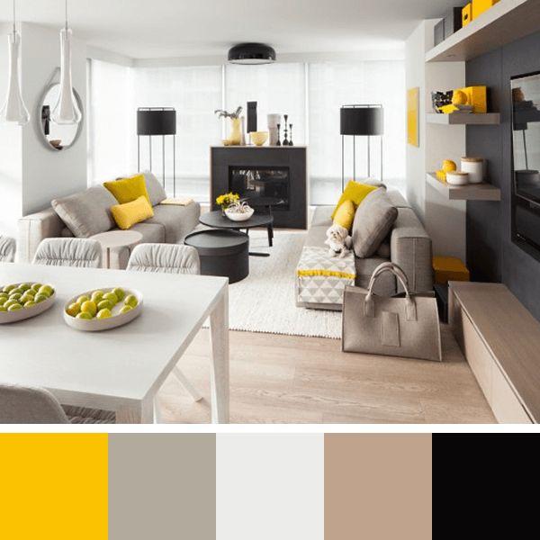 Sala De Estar Cinza E Lilás ~  de cores sala cinza e amarela decoração sala cinza cinza e amarelo