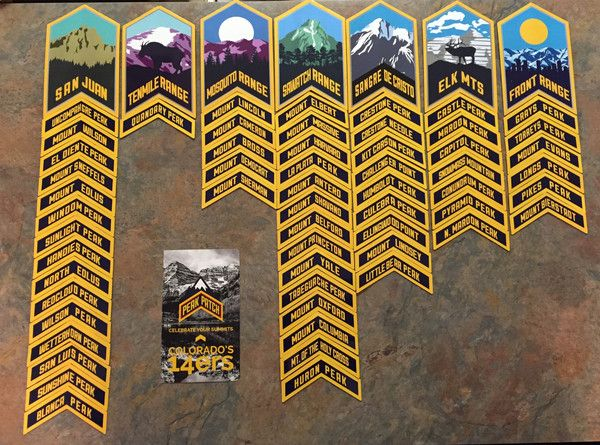 This product includes all of the 58 14er summit chevrons as well as the 7 range patches. Purchase this product and save 20% OFF from buying individually.