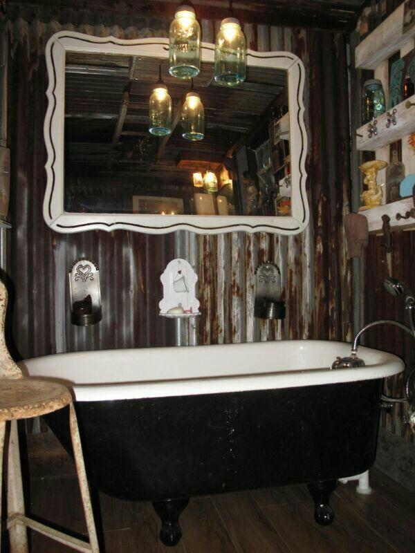 Our rustic bathroom #GlampingIsRad | Clawfoot tub bathroom ...