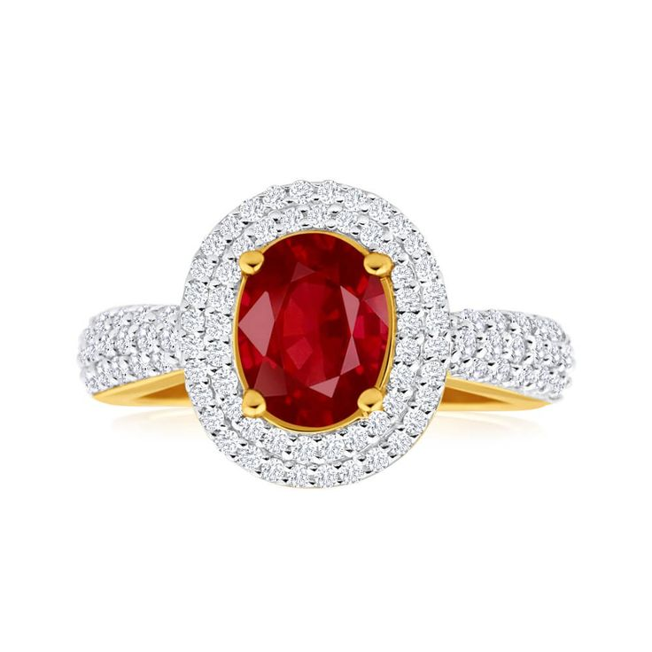 Nothing more royal than a stunning red Natural Ruby and Diamond Ring in 18ct Yellow Gold. Perfect statement peice