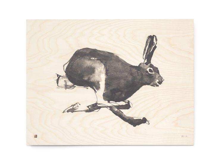 Mountain Hare Fine Art Print on Wood Teemu Järvi Illustrations http://www.teemujarvi.com/en/shop/wood-prints/86-mountain-hare.html Photo: Unto Rautio
