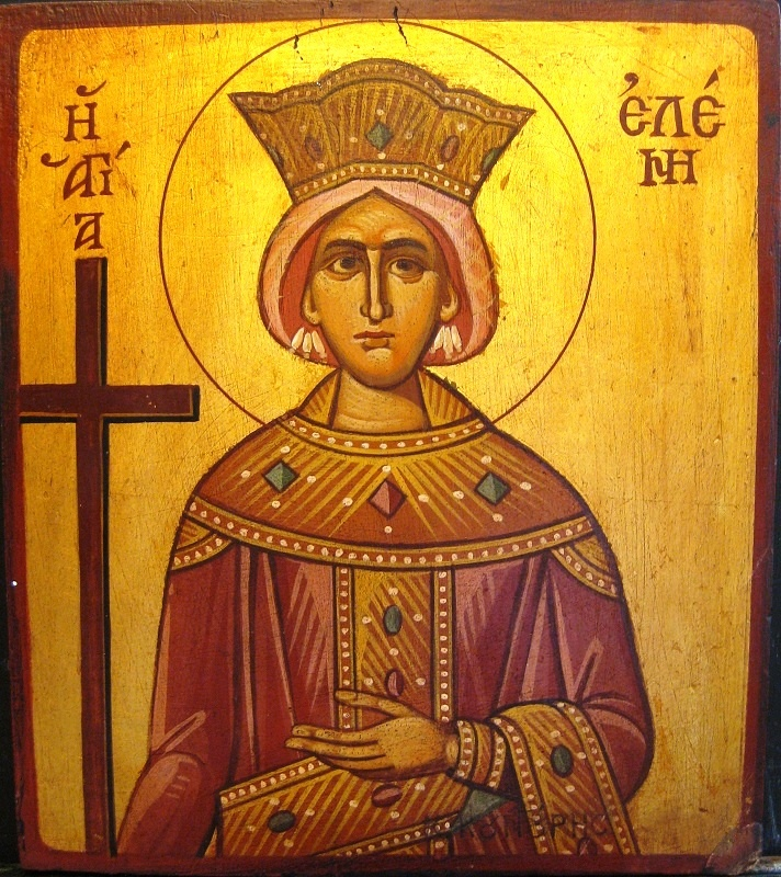 "Agiography. ""Saint Eleni"" by Konstantinos Kountouris. Style: Egg-tempera and leaves of gold for the background. Size: 28χ24."