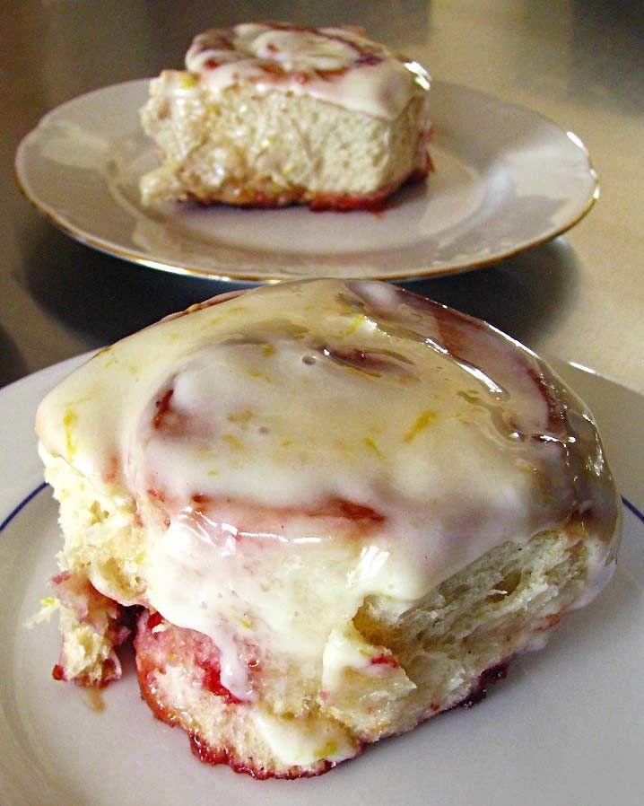Lemon and raspberries rolls with Lemon Cream Cheese Glaze