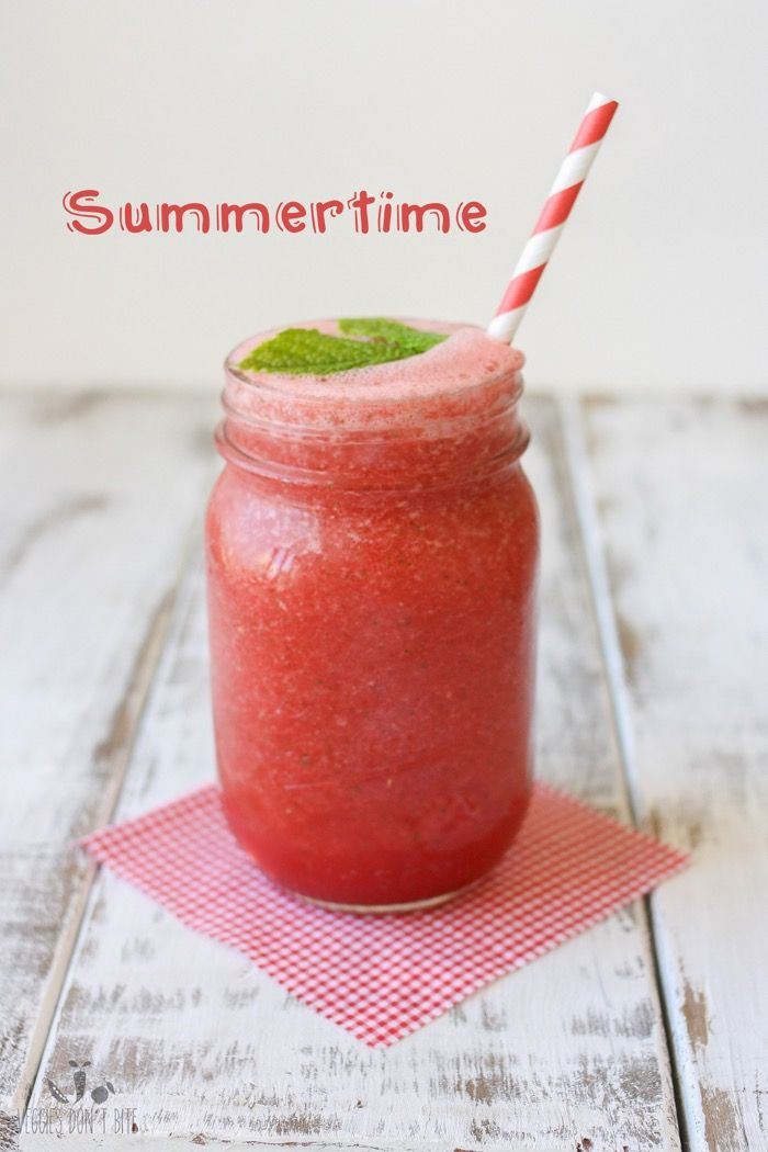 Servings: Makes 1 servingPrint Cold. Frothy. Refreshing. This frozen watermelon mint cooler hits the spot on those hot summer days! Ingredients:  2 cups watermelon (frozen is best) 1 tablespoon fresh mint (plus more for garnish if wanted) 1/4 cup coconut water note: The watermelon is best frozen to get that frothy consistency but fresh watermelon will also work. The coconut water is optional, without it the cooler will be thicker, but it gives an added layer of taste.